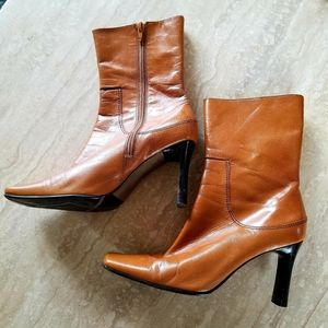 Nine West Brown Leather Mid Calf Heeled Boots, Sz7